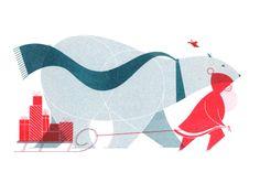Santa, a polar bear, and a bird team up for this xmas card illustration