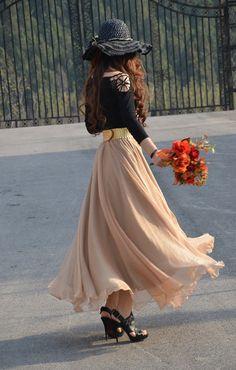 Chiffon Maxi Skirt-Spring Long Skirt Maxi Dress Silk Skirt Summer Beach Skirt  In Gold Bean-WH124 ,XS-L