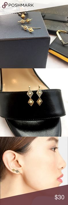 """Geometric Pyramid Ear Climber Earrings Details: * Gold plated and cubic zirconia * 7/8"""" L x 3/8"""" W * NWT 12241606 House of Harlow 1960 Jewelry Earrings"""