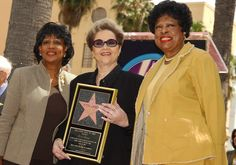 Etta James: HOLLYWOOD - APRIL 18: Singer Etta James (C) displays her star with U.S. Congresswoman Maxine Waters (D-CA) (L) and U.S. Congresswoman Diane Watson (D-CA) (R) during a ceremony honoring James on the Hollywood Walk of Fame April 18, 2003 in Hollywood, California. (Photo by Vince Bucci/Getty Images)