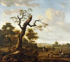 Jan Wijnants - Landschap met een haviks jachtpartij