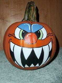 Gina Land: Halloween is in the air! Halloween Pumpkins, Fall Halloween, Halloween Crafts, Halloween Decorations, Pumpkin Art, Pumpkin Carving, Carving Pumpkins, Pumpkin Painting, Halloween Geist