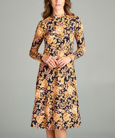 Look what I found on #zulily! Mauve Floral Long-Sleeve Dress #zulilyfinds