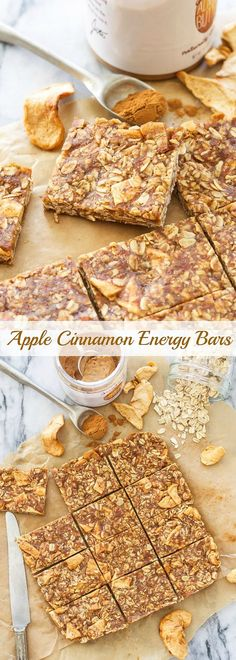 Chewy, no bake Apple Cinnamon Energy Bars are a perfect pre or post workout snack! Easy to make, no weird ingredients and better than anything you can buy! Apple Recipes, Snack Recipes, Dessert Recipes, Cooking Recipes, Healthy Recipes, Bar Recipes, Korean Recipes, Healthy Breakfasts, Italian Recipes