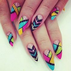 Inspiration on Summer is coming, crazy idea for your summer nails look by Dekovska Teodora. Check out more Nails on Bellashoot. Rainbow Nails, Neon Nails, Yellow Nails, Fabulous Nails, Gorgeous Nails, Fancy Nails, Cute Nails, Nailart, Pointy Nails