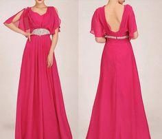 vintage coral cap sleeves long empire prom dresses UK KSP033