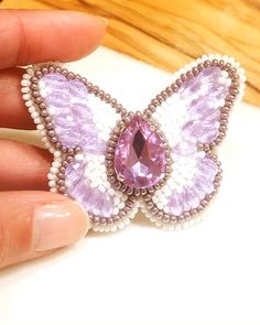This beautiful butterfly brooch with Swarovski Crystals is available at SplendidBeads's Etsy Shop Bead Embroidery Jewelry, Beaded Jewelry Patterns, Beaded Embroidery, Crystal Brooch, Beaded Brooch, Beading Projects, Bead Crochet, Bead Crafts, Bead Art