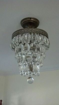 Vintage wrought iron 141 h small crystal chandelier cobnalli tiny small chandelier aloadofball Gallery