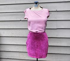 Burgundy 100% genuine leather mini-skirt