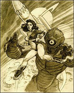 "Preliminary art study for ""Pulp Siren"" by Mark Schultz. Sexiest rocket boots EVER."