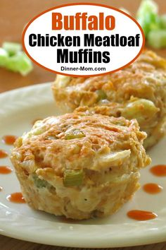 Buffalo Chicken Meatloaf Muffins - wing-inspired flavors are perfectly portioned using a muffin tin. An easy and healthy recipe the entire family will love! #chickenmeatloaf #meatloafmuffins #buffalochicken