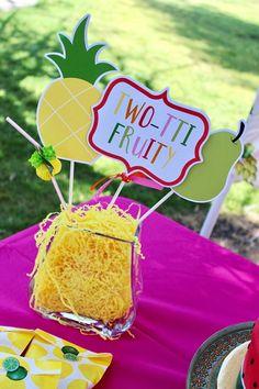 Twotti fruity tutti fruity pineapple fruit party table party decor centerpiece