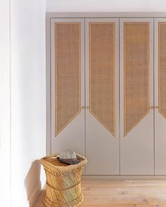 Love how the woven cane transforms these wardrobe doors. Wardrobe Design Bedroom, Diy Wardrobe, Wardrobe Doors, Built In Wardrobe, Home Interior Design, Interior Styling, Interior Decorating, Home Bedroom, Bedroom Decor