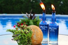 10 Minute DIY: Upcycle Glass Bottles Into Citronella Torches >> http://blog.hgtv.com/design/2015/07/22/upcycle-glass-bottles-into-citronella-torches/?soc=pinterest