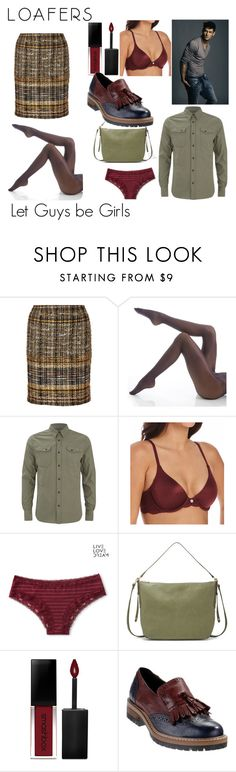 """Definitely Not a Kilt and Loafers"" by genderschmender ❤ liked on Polyvore featuring Oscar de la Renta, Wolford, DKNY, Aéropostale, Relic, Smashbox, transgender and genderfluid"