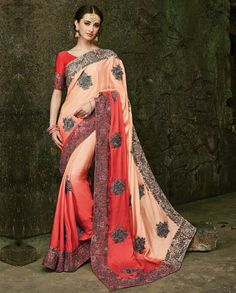 1. Peach and Red Pure Satin Silk Sari With Jari Border and Heavy Diamond Work 2. Comes with a matching unstitched blouse