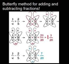 7 Math Hacks That Will Change Your Lives! Butterfly method for adding and subtracting fractionsButterfly method for fractions - keeping for later this year to help Hobbit.Butterfly method for adding or subtracting fractions. This may belong on a cook Math For Kids, Fun Math, Math Games, Math Activities, Math Art, Adding And Subtracting Fractions, Math Fractions, How To Add Fractions, Multiplication Tricks