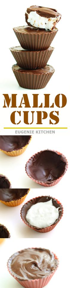 Easy 3-ingredient homemade Mallo Cups. Ready in 30 minutes. Those super cute chocolate treats are perfect for Valentine's day, Halloween, and holidays. Yum!