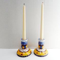 Vintage Pair of Candlesticks  Painted Ceramic by FairfaxDavis