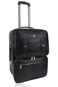 Bsolo Suitcase Black Croc/Gold Crocs, Suitcase, Gold, Black, Black People, All Black, Briefcase