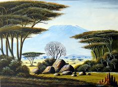 There are original African artists - and there is Geoffre Mugwe. In a class by himself, Mugwe has aligned himself with one particular gallery in Nairobi and Kenyan Artists, African Artists, African Paintings, Mount Kilimanjaro, African Culture, African Animals, Landscape Art, Animal Photography, Safari