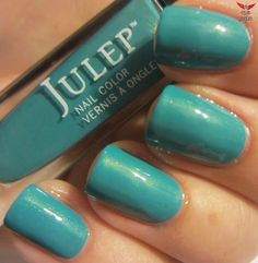 Julep Lena- A blue-green creme with subtle gold shimmer.