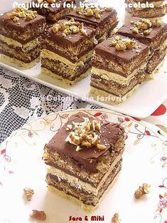 Pastry with cakes, meringues and chocolate Romanian Desserts, Romanian Food, Mini Desserts, Sweets Recipes, Cake Recipes, Kolaci I Torte, Dessert Drinks, Something Sweet, Ice Cream Recipes