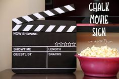Chalk Movie Sign Tutorial...Great for Family Movie Night :) #Movies, #Family, #tutorial, #DiY