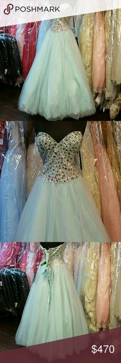 Mint Ballgown NWT, completely beaded bodice with mint green, silver,  and light pink crystals (ombre effect), corset back, sweetheart neckline, open tulle skirt that can be worn with or without petticoat (tulle is also mint green mixed with light pink), great for prom, homecoming, wedding, pageants, Quince, Sweet 16, parties, or any formal event. Designer is Milano Formals, size 18, can fit 16 and 20, color: mint. Milano Formals  Dresses Strapless