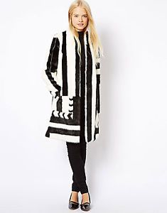 ASOS MONO STRIPE FAUX FAKE FUR LONG COAT BLACK & WHITE UK 8/ US 4/ EUR 34 BNWT. I love this coat. Unfortunately I wasn't able to find it on the asos website but they have it on ebay for $164.00. Worth every penny.