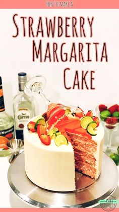 Make this Strawberry Margarita Cake, infused with tequila and triple sec and topped with a cake drip, Margarita glass, and lime twists and strawberries! Strawberry Margarita Cake Recipe, Strawberry Recipes, Mini Strawberry Cheesecake, Gourmet Cakes, Food Cakes, Cupcake Cakes, Köstliche Desserts, Delicious Desserts, Dessert Recipes