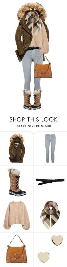 """""""Winter Boots"""" by ittie-kittie ❤ liked on Polyvore featuring Superdry, J Brand, SOREL, Lowie, Burberry, See by Chloé, Shashi, Winter, winterfashion and winterboots"""