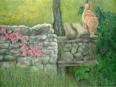 Cat Stile - acrylic on canvas by British artist Diane Holmes. Giclee prints available.