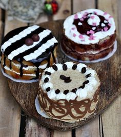 Petite Iced Cakes - Coffee Cream, Raspberry Cream & Chocolate Cream