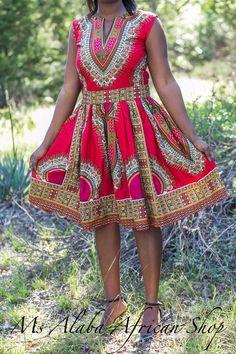 African Clothing Red Dashiki Midi Summer door MsAlabaAfricanShop