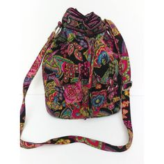 Pretty Vera Bradley Drawstring Tote bag Vintage Crossbody Floral Tote... ($55) ❤ liked on Polyvore featuring bags, handbags and tote bags