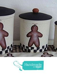 Gingerbread Love Stoneware Canister Set from Primitive Country Loft House https://www.amazon.com/dp/B01FNKOONA/ref=hnd_sw_r_pi_awdo_XfepybYQAFKCT #handmadeatamazon