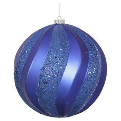 8 Blue Matte/Glitter Swirl Christmas Ornament