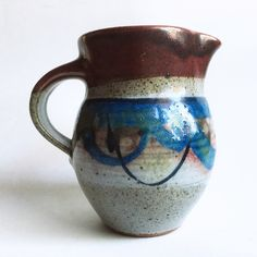 studio pottery creamer F. WAYNE collection  https://www.etsy.com/listing/465727543/colorful-studio-pottery-mini-pitcher