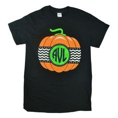 Glitter Pumpkin with Glitter Initials. You will be stylish instead of scary in this adorable personalized pumpkin shirt. This monogrammed tee will keep the goblins and ghouls at bay while you are out and about this Halloween season. Personalize this garment with your favorite three initials. The order for the initials is FIRST LAST MIDDLE.