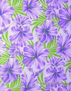 Hibiscus fabric in purple and lavender for clothing and all other sewing project. By HawaiianFabricNBYond.