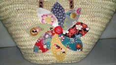 cesta-capazo gran flor japa patchwork cesta-capazo cesta-capazo de palma,tejido original japonés,cordón  botón cestería  patchwork,cosido a mano