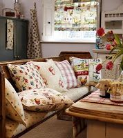 Prestigious Textiles - Garden of England Fabric Collection - Roman Blinds with flowers, leaves and cockerels on neutral, Seat cushions of cream with dots and cushions with floral and stripe patterns. Country Farm Kitchen, Country Living, White Stuff Uk, Prestigious Textiles, Blinds For Windows, Decoration, Upholstery, Pillows, Seat Cushions
