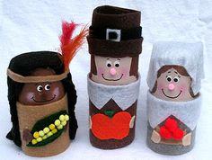 Cardboard Tube Pilgrims & Indians craft | Crafts by Amanda
