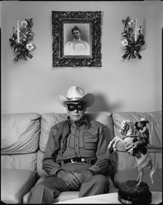 "Bid now on Clayton Moore, ""The Lone Ranger"" at Home, Los Angeles by Mary Ellen Mark. View a wide Variety of artworks by Mary Ellen Mark, now available for sale on artnet Auctions. Mary Ellen Mark, Rare Photos, Old Photos, Vintage Photos, Clayton Moore, Street Photography, Art Photography, Photography Portfolio, Dark Art"