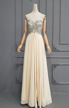 Elegant Strapless Long Champagne Chiffon Rhinestone Beaded Prom Evening Dress Orange Blush, Purple Grey, Blush Pink, Winter Prom Dresses, Evening Dresses, Formal Dresses, Prom Dresses Online, Buy Dress, Champagne