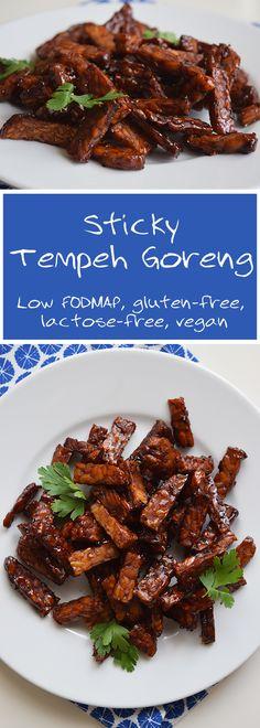 Fried tempeh goreng. Low FODMAP, gluten-free, lactose-free and vegan.