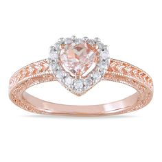 Miadora Silver Morganite and 1/6ct TDW Diamond Ring (H-I, I2-I3) - Overstock™ Shopping - Top Rated Miadora Gemstone Rings