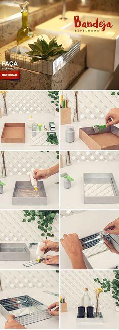 Moderna, versátil e pode decorar qualquer lugar da sua casa! Por isso, o Faça Você Mesmo desse mês vai te mostrar como fazer uma bandeja espelhada e deixar sua