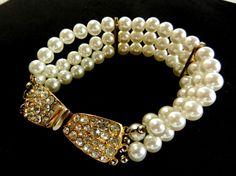 3 Strands white pearl Bracelet1960 vintage Italian by RAKcreations